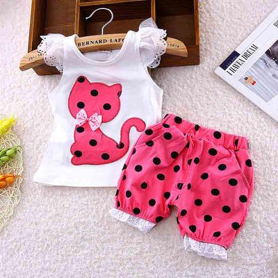 Baby Toddler Girls Summer Shorts Set 1-4 Years Old KidsFly Sleeve Cartoon Letter Vest Tank Tops Shorts Outfit