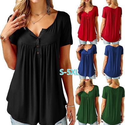6df96474f454d Moda verano Sexy escote en v cuello botón Casual Vestido plisado mujeres  dobladillo Mini vestido