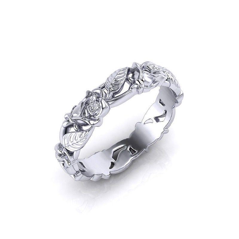 Exquis petit 14K or blanc rempli minuscule Baguette Bague Diamant Bague Taille 6-10