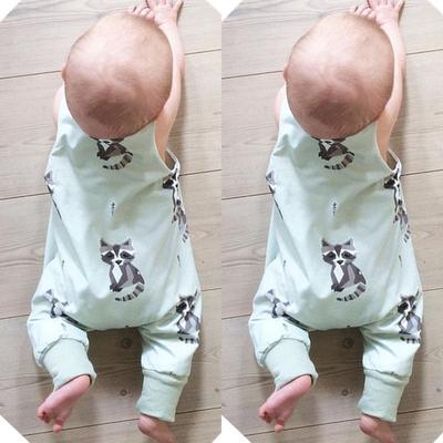 Fox Newborn Baby No Sleeve Bodysuit Romper Infant Summer Clothing Black
