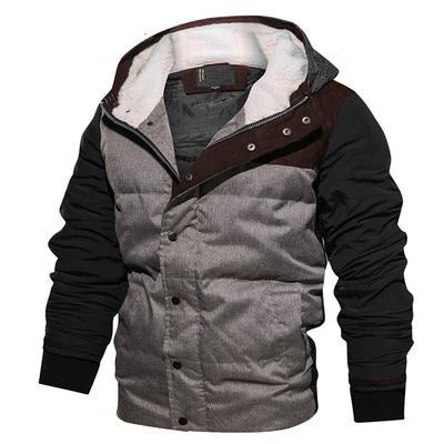 YYG Men Thicken Warm Parkas Hoodie Fleece Winter Quilted Jacket Coat Outerwear