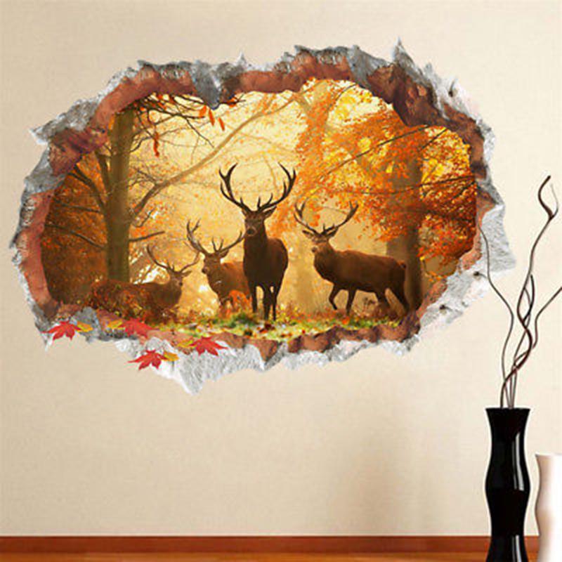 Xtian 3D съемные деревья оленей Стены Наклейка Домашнее украшение Окно Decal номер искусства DIY фото
