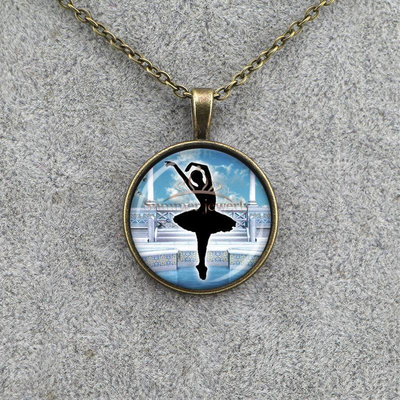 Family Decor Wild Flower Pendant Necklace Cabochon Glass Vintage Bronze Chain Necklace Jewelry Handmade