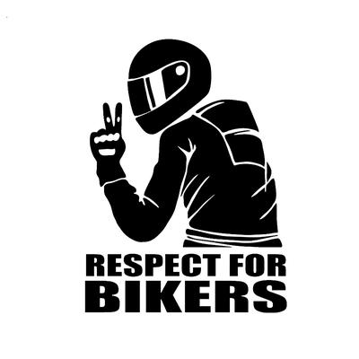 14x19CM Car Stickers Respect for Bikers Auto Vinyl Funny 3D Stickers Decals Motorcycle