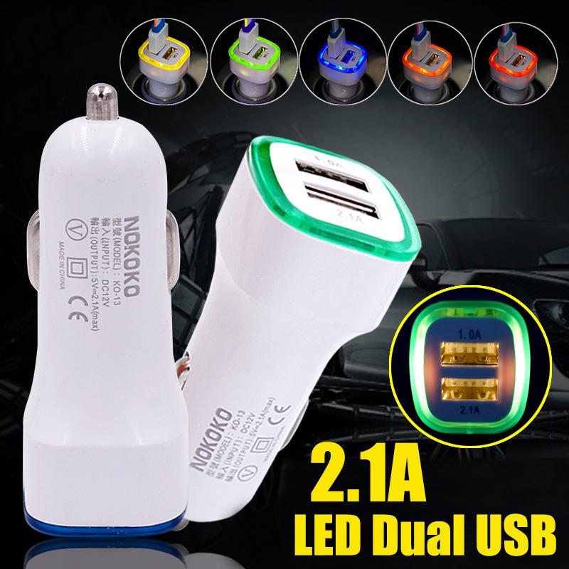 DC 12V двойной LED USB автомобиль зарядное устройство 2 порта адаптер сигарет пробка легче для сотового телефона 2.1a фото