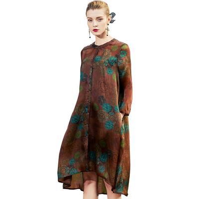Pokwai Long Dress POKWAI Vintage Print Silk Dress