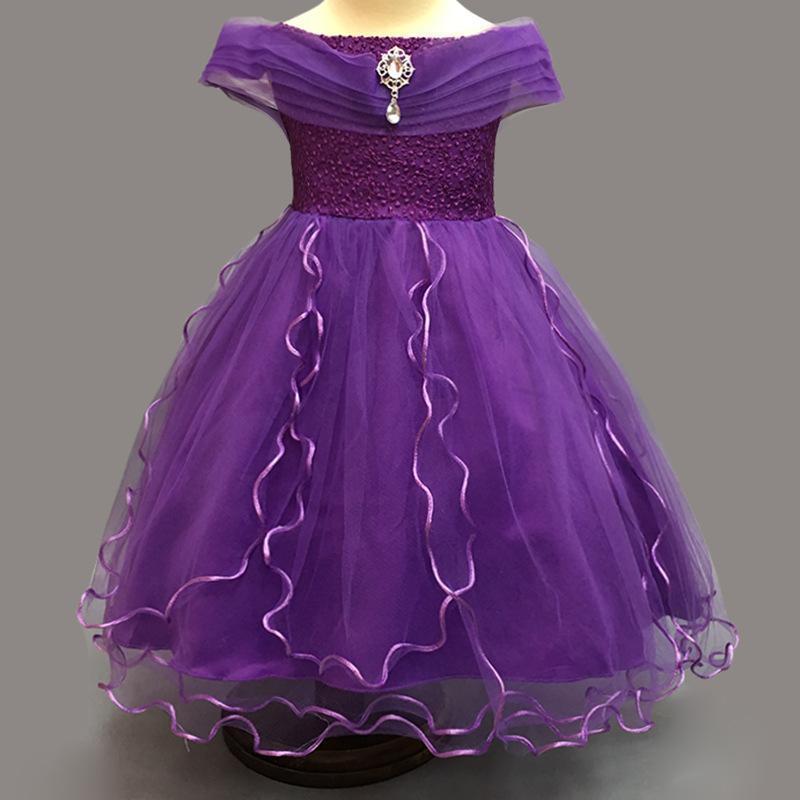 Niños niñas princesa vestido de Gasa partido vestido novia desfile ...