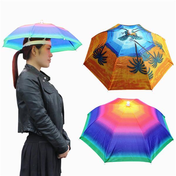 55cm Foldable Headwear Umbrella Fishing Hiking Hat Cap Camping Headwear