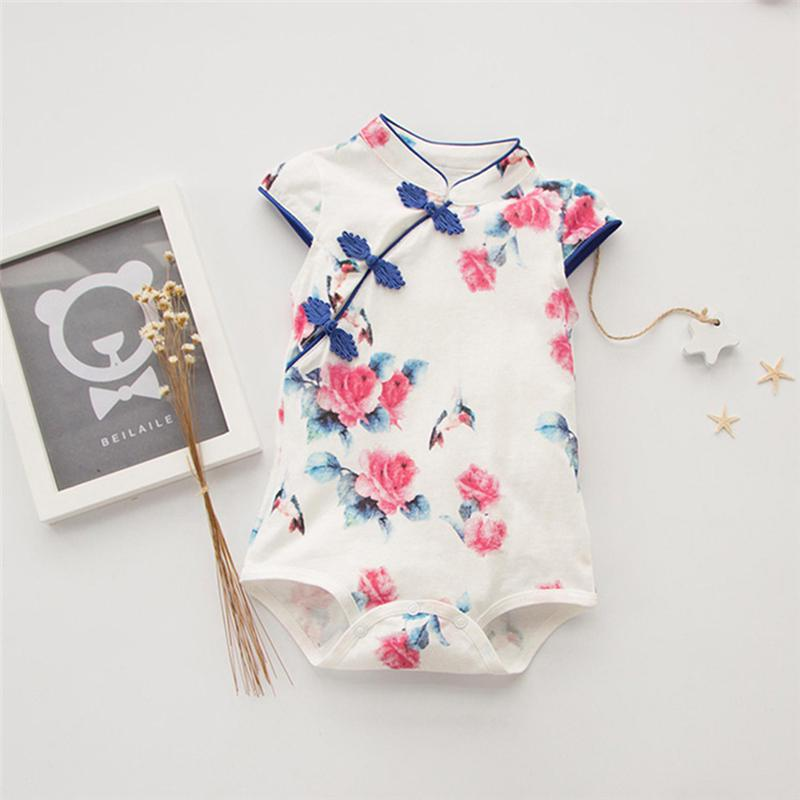 dfd4ed07f245 Summer Rompers Newborn Baby Clothes Chinese Cheongsam Baby Girl ...