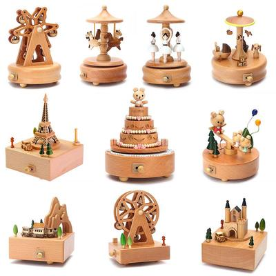 Little Bear Seesaw Musical Wooden Box Vintage Wooden Musical Box Wood Crafts Exquisite Birthday Gift Home Office Decoration