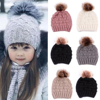 Voqeen Baby Kids Winter Hat Warm Toddler Baby Boys Girls Knit Hat Beanie Cap with Ear-Flag and Cute Pompom 0-8years