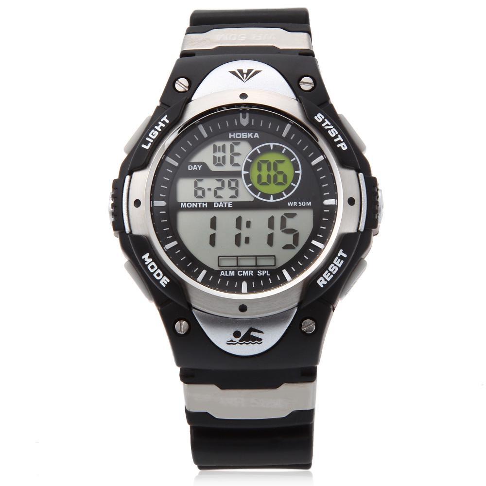 886841234084 HOSKA H013B niños LED Digital Reloj fecha día alarma pantalla 5ATM ...