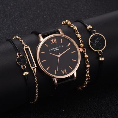 2020 New Simple Watch Set Quartz Watch Trend Pu Strap Ladies Watch with Bracelet Set