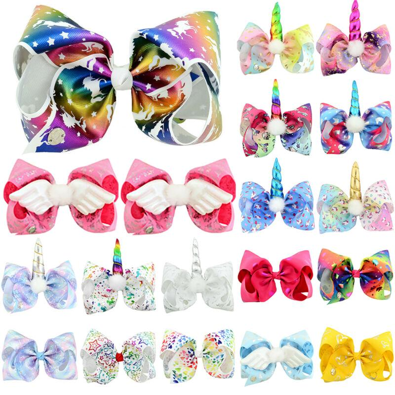 Unicorn Horn Sequin Large Bows Kids Girls Glitter Rubber Hair Band Tie Rope Ring