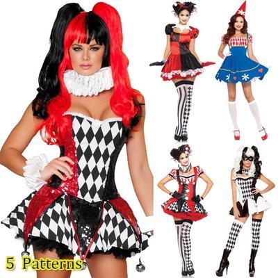 48050d24391 Mardi Gras шута костюм партии цирковой клоун Костюмы карнавальные костюмы  Хэллоуина для женщин