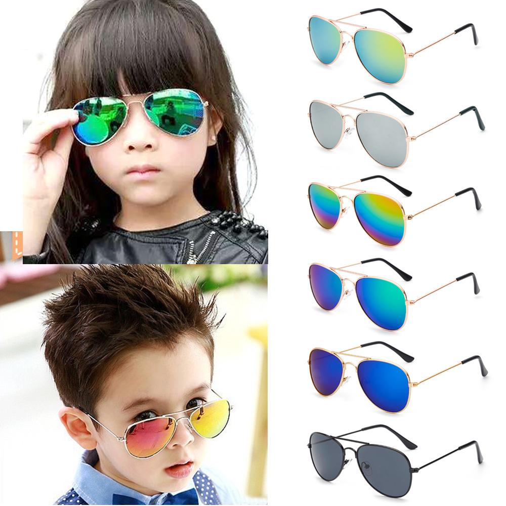 Utini Glitztxunk Aviator Fashion Sunglasses Boys Girls Classic Glasses Multi-Color Kids Outdoor Sports Safety Coating Sunglasses Lenses Color: Blue