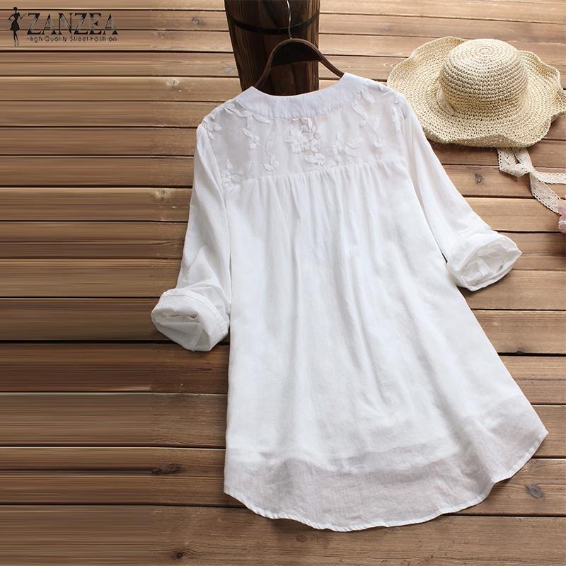 ZANZEA Women Long Sleeve Stripe Lace Patchwork Shirt Tee Casual Loose Top Blouse