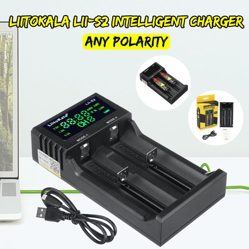 LiitoKala Lii-S2 DC 5V2A Smart Battery Charger Double Slot with Power Display