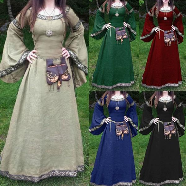 fa5231c4dfa Новые женщины Мода длинным рукавом средневековой Фея платье длинное ...