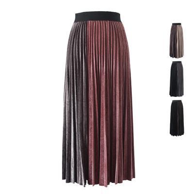 0534432576f женщины осень-зима холстопрошивной бархат упругой высокой талией Юбка  длинная случайные макси плиссированные юбки