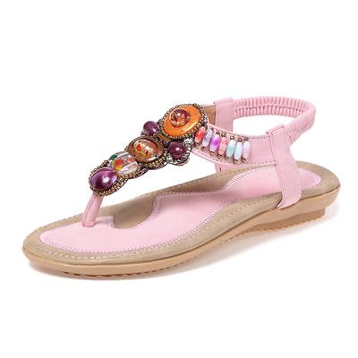 82ef2deb81be Size 34-42 Bohemia Sandals Women Beading Rhinestone Flat Sandals Flip Flops  Shoes Soft Beach