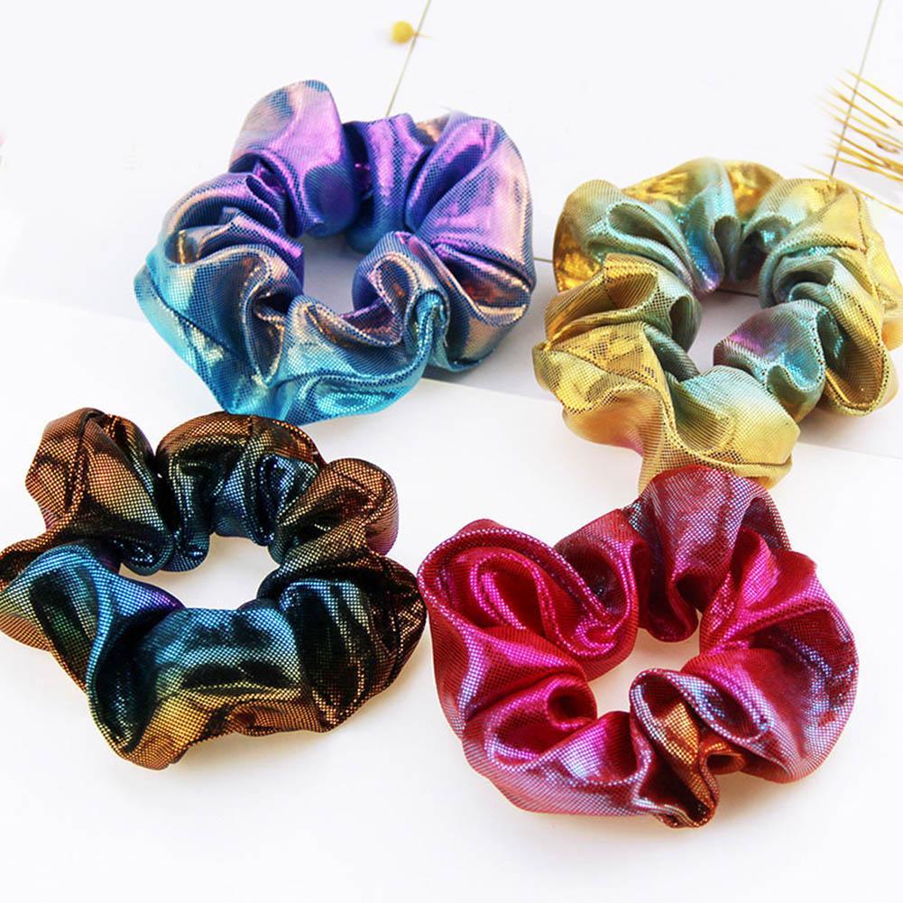 Women/'s Laser Color Elastic Ponytail Holder Hair Bands Satin Scrunchie Hair Ties