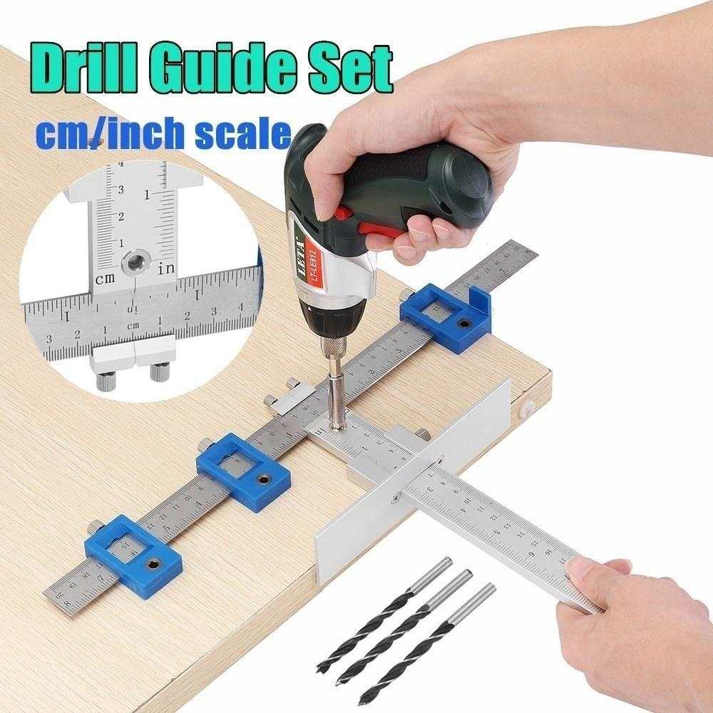 Secure Detachable Woodworking Hole Punch Locator Positioner Jig Tool Drill Guide