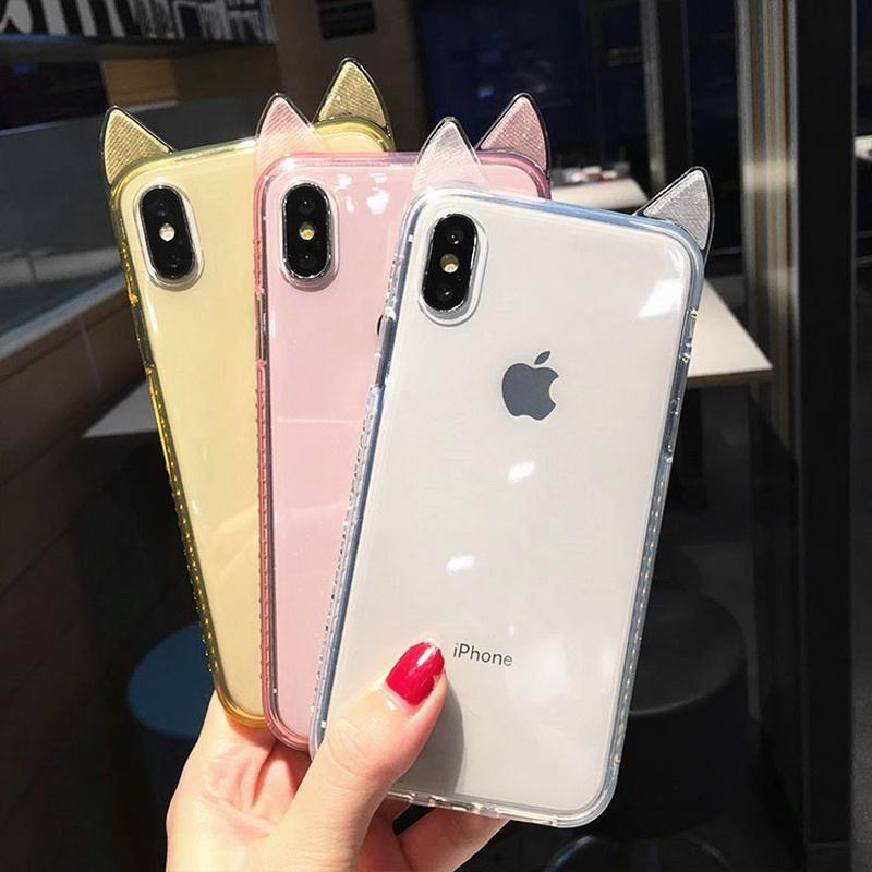 Cute Cat Ear Bling2 Glitter Diamond Case for iPhone 6 Xr Xs Max X 6s 6s Plus |Clear| Xs 7 Plus 8 Plus M-01 8 7
