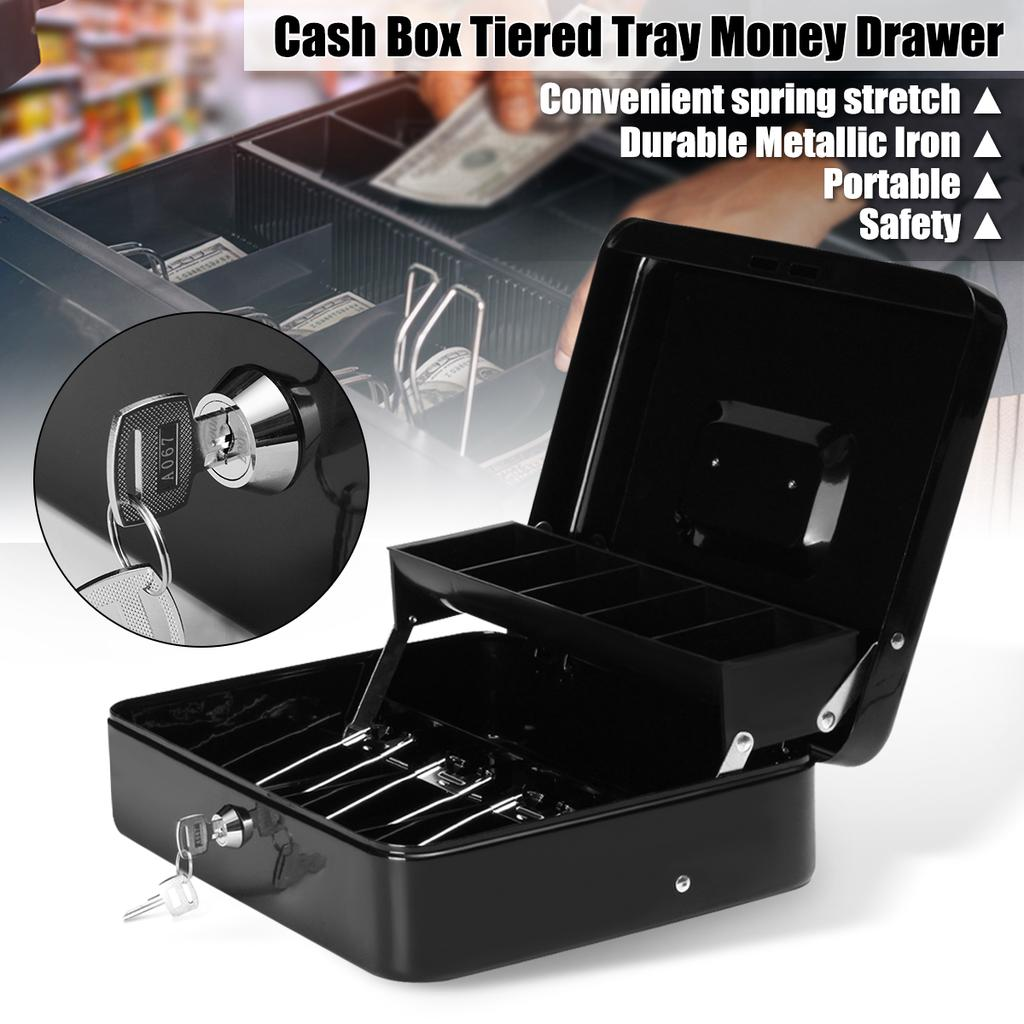Cash Box with Money Tray lock Large Steel 5 Compartment Key Black Tiered Gifts
