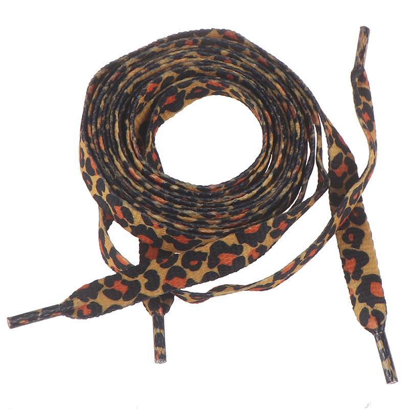 1Pair 1cm*120cm Fashion Sneaker Shoelaces Flat Leopard Print Elastic Shoe La 7H
