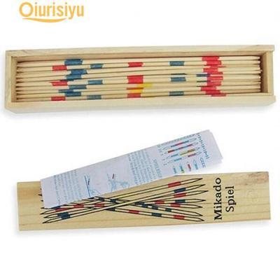 Baby Educational Wooden Traditional Mikado Spiel Pick Up Sticks have Box Game
