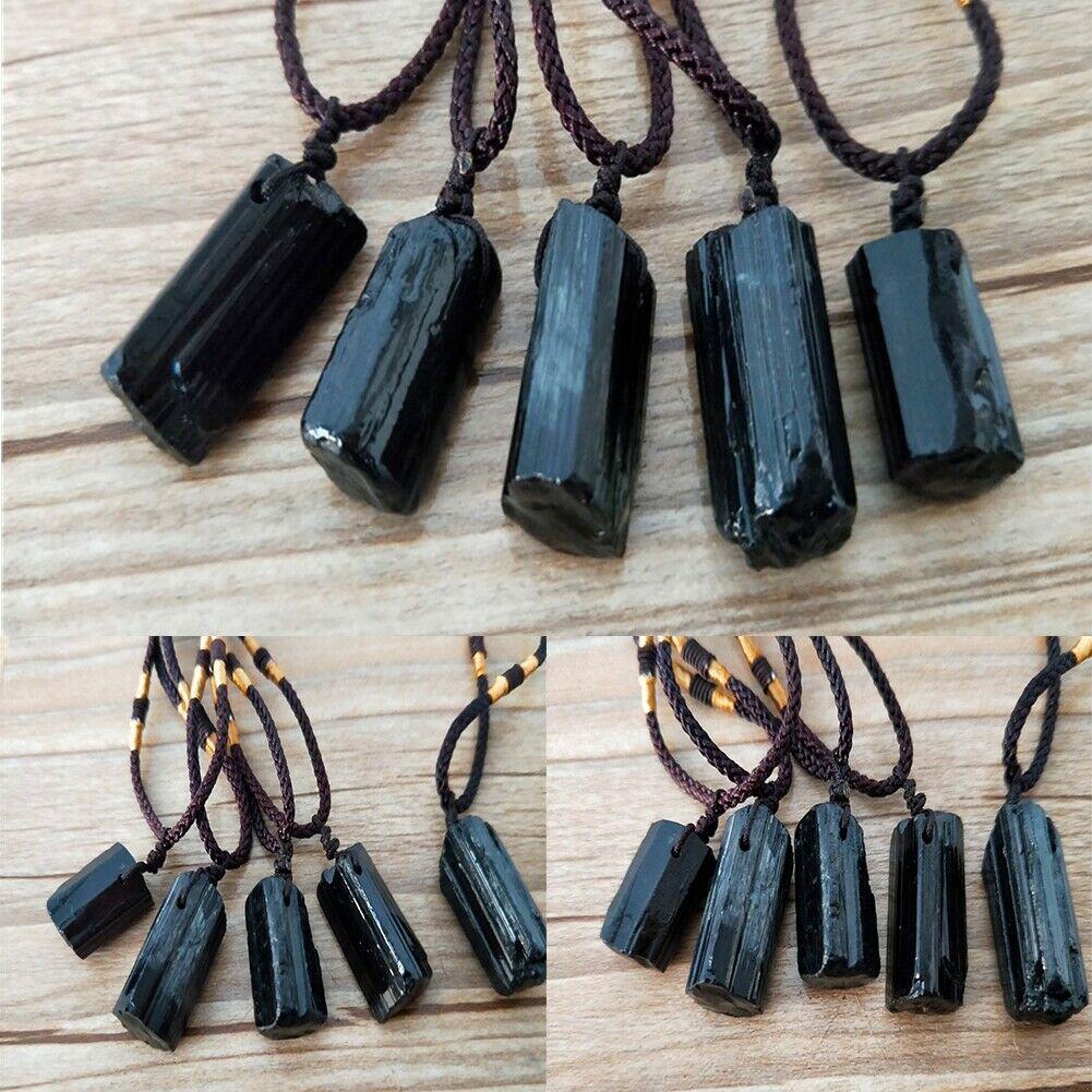 Raw Natural Black Tourmaline Schorl Pendant Chunk Reiki Chakra PROTECTION New