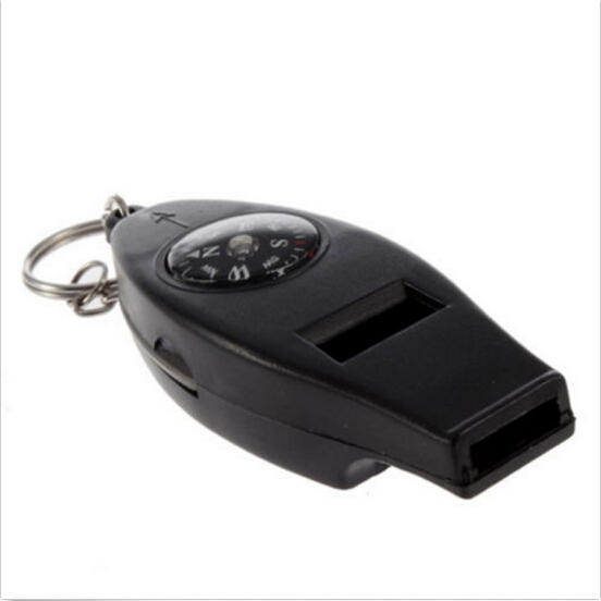 Portable Size Black 4in1 Mini Survival Tool Thermometer Whistle Compass