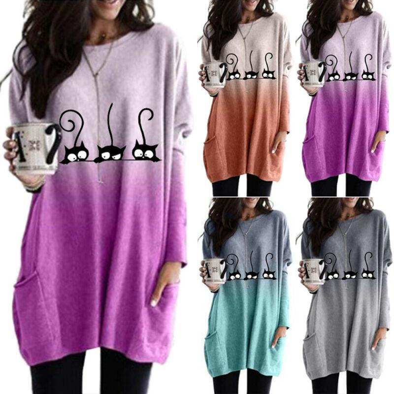 NEW WOMENS PLUS SIZE BAGGY LOOSE SLEEVE TOPS LADIES ROUND NECK STRIPED T-SHIRT
