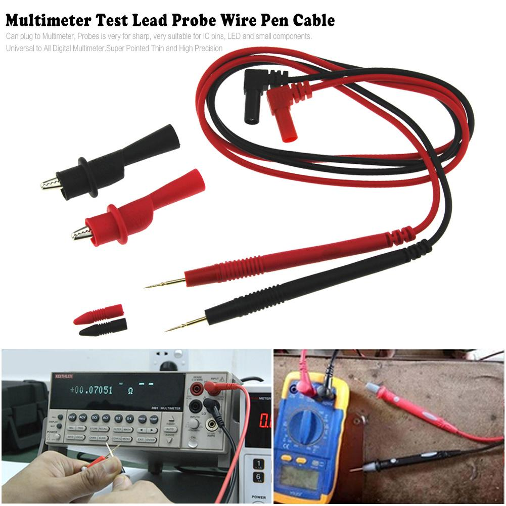 1 Pair Digital Multi Meter Test Lead Probe Wire Pen Cable Crocodile Clips