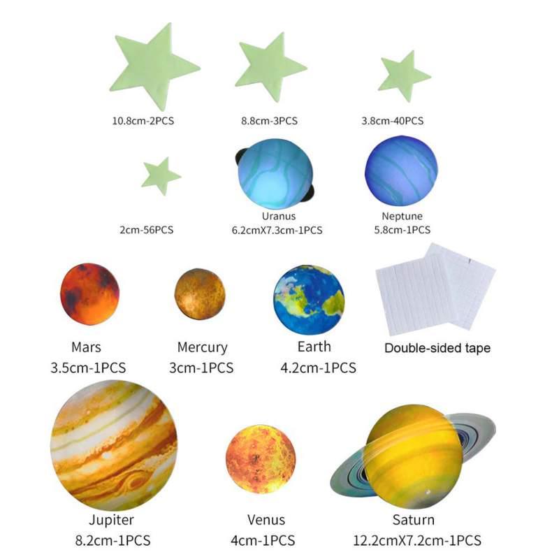 Brillo Star 3d Planetas Mars Glow in-the-dark educativo luz nocturna de la etiqueta engomada