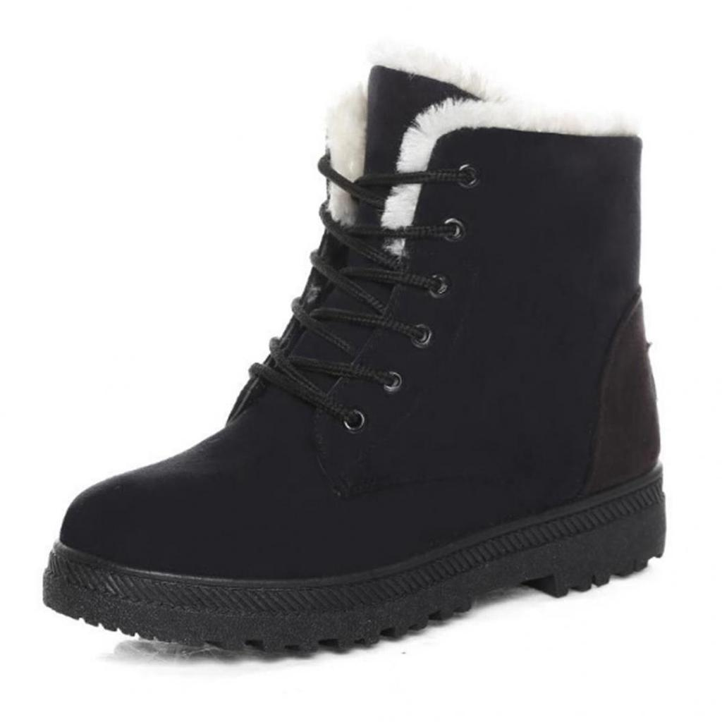WOMENS LADIES ANKLE WARM KNITTED TRIM FLAT WARM COMFY WAINTER SNOW BOOTS SIZE