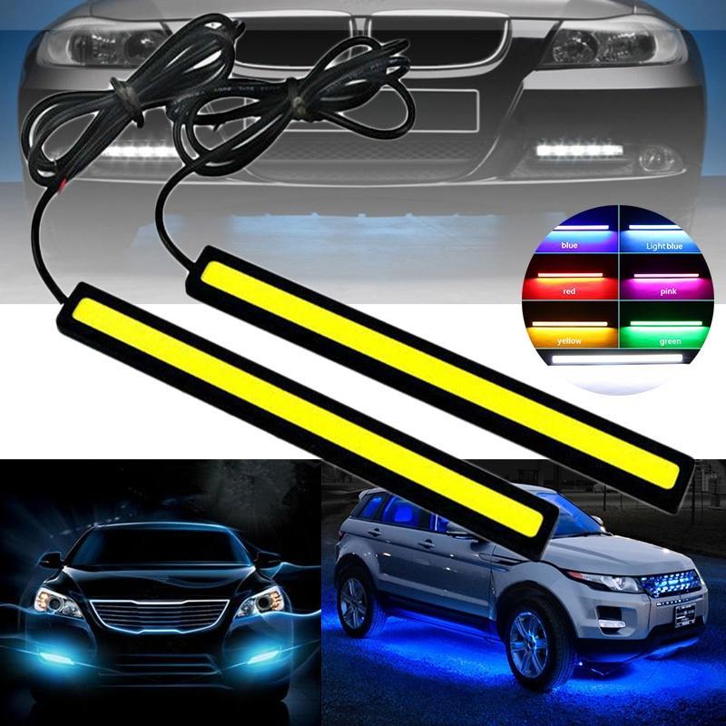 2x Super Pink COB Car LED Lights 12V For DRL Fog Driving Lamp Waterproof 17cm