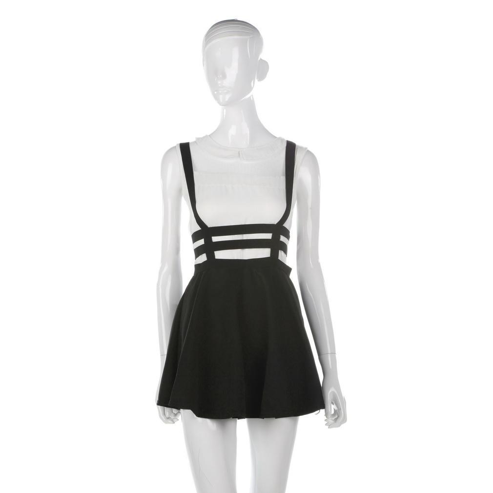 0db76743cf8 Women Pleated Suspender Skirt Braces Hollow Out Bandage Mini Skater ...