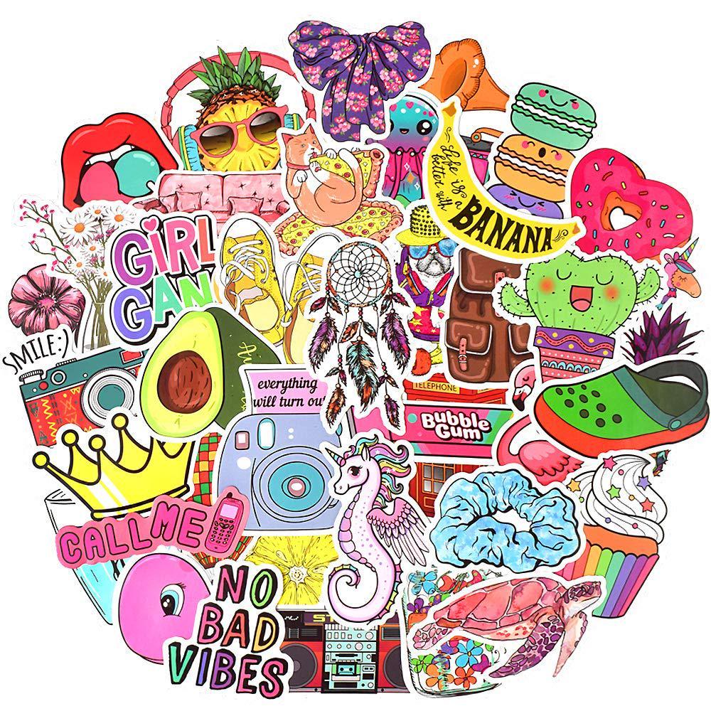 Pack of 60 Random Vinyl Bomb Stickers Laptop Skate Luggage Fun girls pink gift
