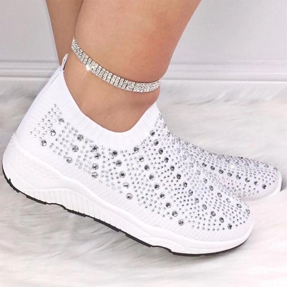 New Ladies Womens Running Fitness Diamante Gym Knitted Sock Sports Trainers