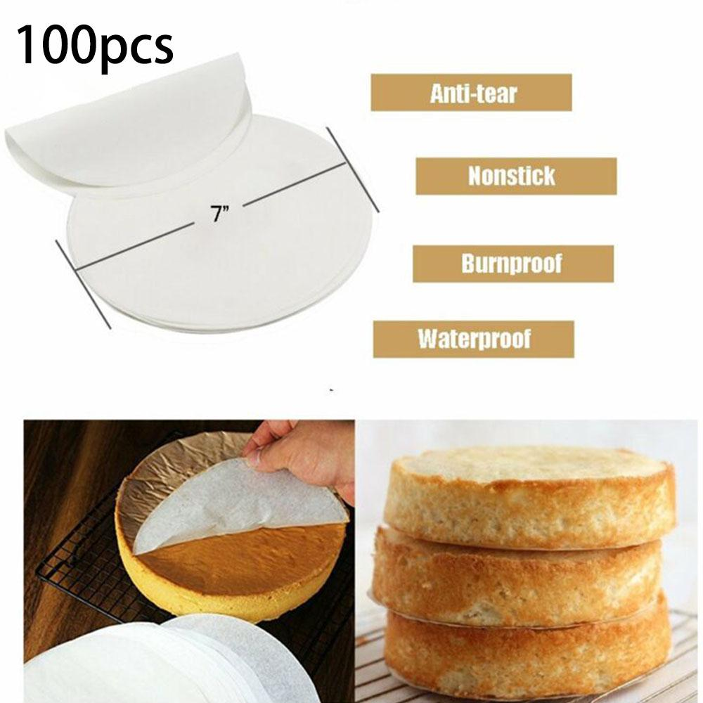 100x Perforated Steamer Round Baking Papers Air Fryer Liners Non-stick Cook Pads
