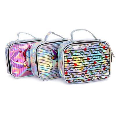bdd3d1b3e9a28 DAYGOS tek boynuzlu at su geçirmez çanta çizgi film bayanlar kozmetik çanta  makyaj büyük kadınlar seyahat