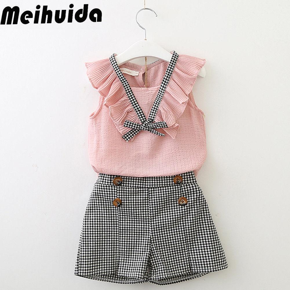 2PCS Toddler Baby Kids Girls Summer Outfits Top Shirt Pants Shorts Clothes Set