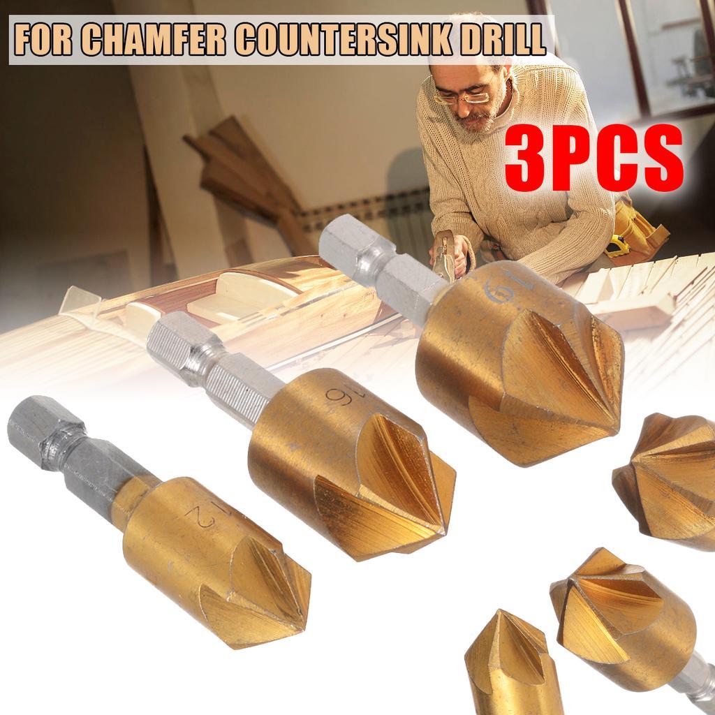 """3X 5 Flute Chamfer Countersink Drill Bit 1//4/"""" Hex Shank HSS 90 Degree 12//16//19mm"""