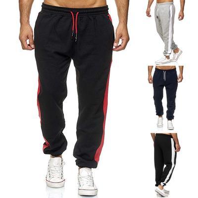 LEXUPA Mens casual pants with elastic waist Men Casual Pacthwork Overalls Pocket Sport Work Trouser Long Pants