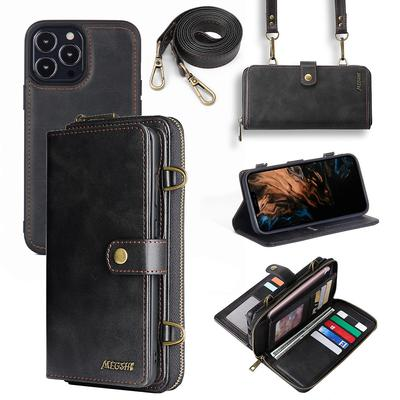 For iPhone 13 mini/Pro/Pro Max Wallet Case, Multi-Function Wallet Case, 2 In 1 Detachable Magnetic Wallet Case, PU Leather Flip Cover with Lanyard
