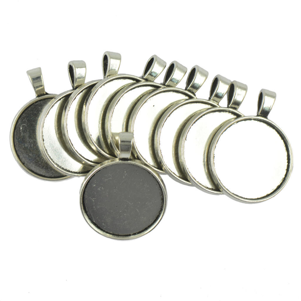 20x Blank Round Bezel Tray Base For Cabochon Necklace Pendant Tibetan Silver