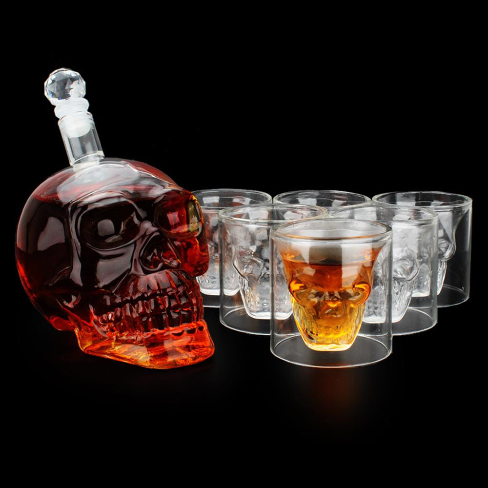 1шт стекла череп лицо графин с 6 рюмок черепа для виски хрустального черепа  пиво Кубок – купить по низким ценам в интернет-магазине Joom