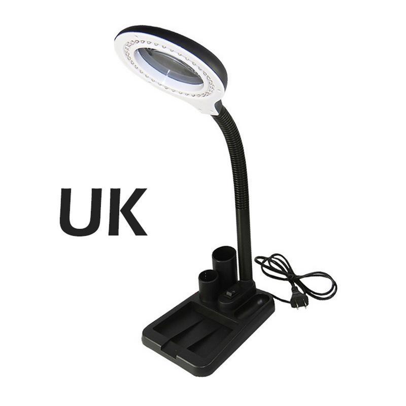 EU USUKAU Plug 220V Crafts Glass Lens LED Desk Magnifier